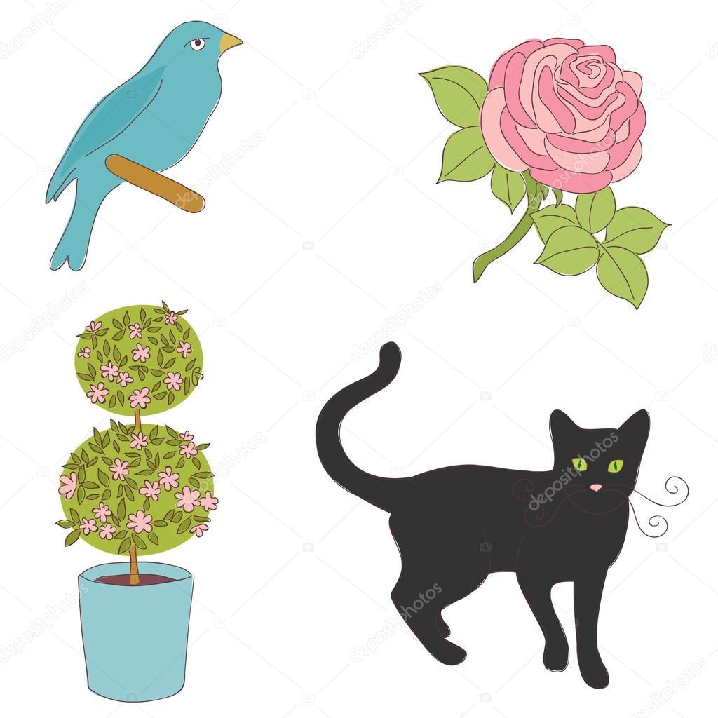 数字彩色手绘动物和制地图邮票– 图库插图