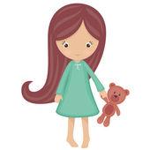 Little girl in pajamas — Stock Vector