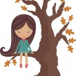 Little girl sitting on a tree — Stock Vector