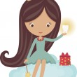 Cute little tooth fairy, sitting on a cloud — Stock Vector