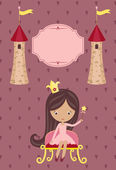 Cute little princess on purple background — Vecteur