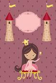 Sevimli küçük prenses mor zemin üzerine — Stok Vektör