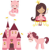 Pink princess design elements — Stock Vector