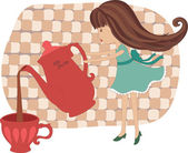 Little girl pouring out tea — Stock Vector