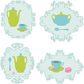Retro tea time sticker set — Stock Vector
