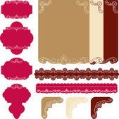 Decorative scrapbook papers, tags and borders — Stock Vector