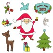 Stock Vector: Christmas cartoon clip-art collection
