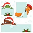 Christmas animals holding blank signboard — Stock Vector