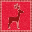 Red vintage Christmas card with deer — Stock Vector