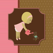 Blond little girl watering a flower. Vector card — Stock Vector