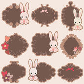 Stickers design with little bunnies — Stock Vector