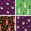 Four Easter seamless backgrounds with bunnies — Stock Vector