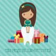 Little girl with a lot of gifts for the first pulled-out tooth — Stock Vector #22365339