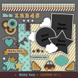Scrapbook retro kit. Baby boy — Stock Vector #22365415