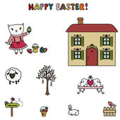 Easter of little kitten. — Stock Vector