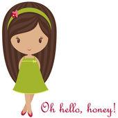 Sevimli küçük kız selamlar — Stok Vektör