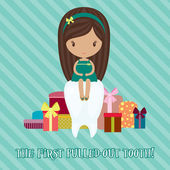 Little girl with a lot of gifts for the first pulled-out tooth — Stock Vector