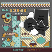 Scrapbook retro kit. Baby boy — Stock Vector