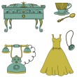 Retro style objects. Commode, telephone, cup and dress. Isolated on white - Stock Vector