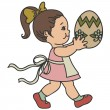 Little girl with big Easter egg, isolated on white. Retro illustration — Stock Vector