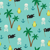 Seamless pirate island illustration kids background pattern — Stock Vector