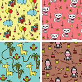 Baby animals seamless background patterns — Stock Vector