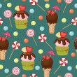Sweet assortment retro wallpaper — Stock Vector