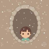 Sad alone boy in the window — Stock Vector