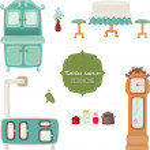 Kitchen interior retro icons — Stock Vector