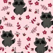 Childish seamless wallpaper with cute raccoon — Image vectorielle