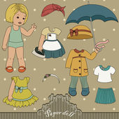 Vintage paper doll and her outfits — Stock Vector