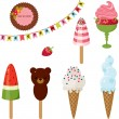 Ice cream ideas. Colorful isolated icons — Imagen vectorial