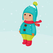 Child during the winter time — Stock Vector
