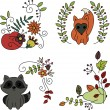 Hand drawn doodles. Baby animals and fruits — стоковый вектор #31451359