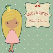 Prenses retro doğum günü kartı — Stok Vektör
