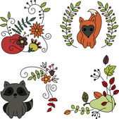 Hand drawn doodles. Baby animals and fruits — Stock Vector