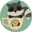 Baby raccoon in a cup — Stock Vector