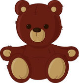 Brown teddy bear, isolated on white — Stock Vector