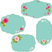 美丽的蓝色花卉边框 — 图库矢量图片