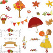 Autumn garden hand drawn clip-art.  — Stock Vector