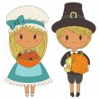 Stock Vector: Pilgrims couple