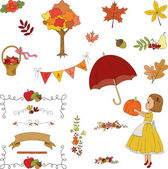 Autumn garden hand drawn clip-art. — Stok Vektör