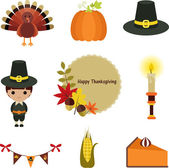 Thanksgiving clip-art set. — Stok Vektör