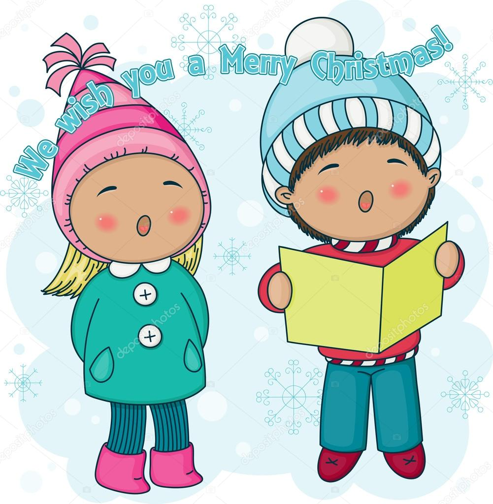 Little carolers natale — vettoriali stock natalie art