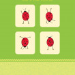 Vector card with four ladybugs — Stock Vector #3486007