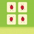 Vector card with four ladybugs — Stock Vector #3486296