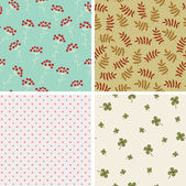 Four seamless wallpapers. Hand drawn patterns — Stock Vector