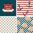 Seamless nautical patterns and invitation. Sea life theme — Stock Vector