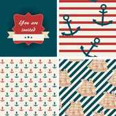 Seamless nautical patterns and invitation. Sea life theme — Stok Vektör