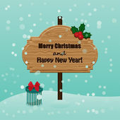 Retro Christmas and New Year greetings card. Wooden signboard wi — Stock Vector